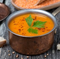 Squash Soup with Red Lentils, Ginger and Coriander